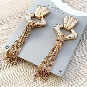 Zara Clip On Chain Tassel Door Knocker Earrings